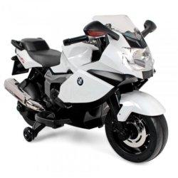 Детский электромотоцикл BMW KS1300S White 12V - 283 (колеса резина, музыка)