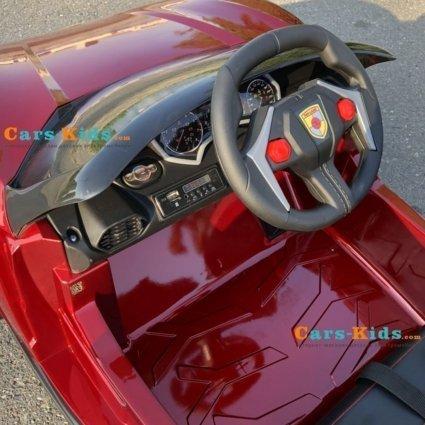 Электромобиль Lykan Hypersport QLS 5188 4WD красный (полный привод, колеса резина, кресло кожа, пульт, музыка)
