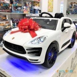 Электромобиль Porsche Cayenne A555AA белый (колеса резина, кресло кожа, пульт, музыка)