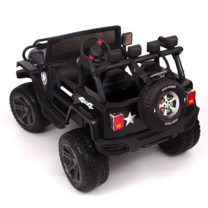 Электромобиль Jeep Wrangler 4WD T555MP черный (2х местный, полный привод, колеса резина, сиденье кожа, пульт, музыка)